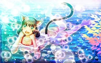 「黒猫さんの半身浴」 風景イラスト